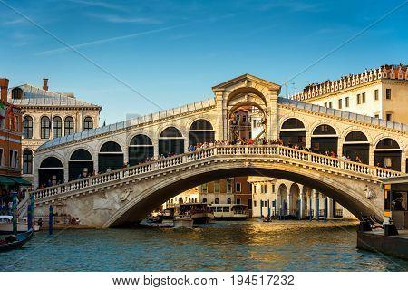 Rialto Bridge over the Grand Canal in Venice, Italy. Rialto Bridge (Ponte di Rialto) is one of the main tourist attractions of Venice.