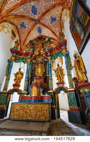 Slovakia, Red Monastery, May 21, 2017: Interior Of Famous Red Monastery Called Cerveny Klastor In Pi