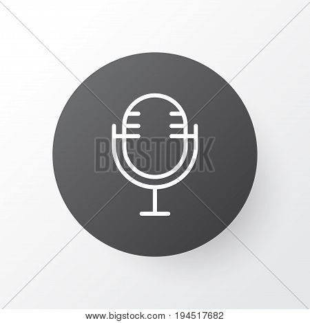 Microphone Icon Symbol. Premium Quality Isolated Mike Element In Trendy Style.