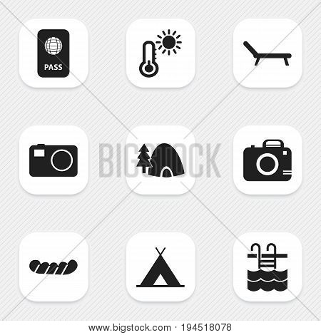Set Of 9 Editable Journey Icons. Includes Symbols Such As Basin, Camera, Thermometer And More. Can Be Used For Web, Mobile, UI And Infographic Design.