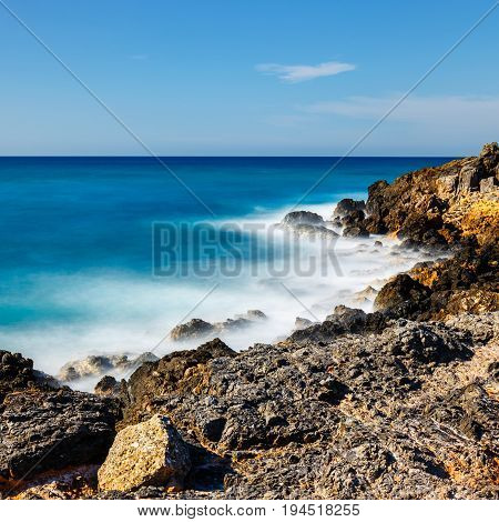 Beautiful Greek Seascape At Sunny Day, Long  Time Exposure, Crete