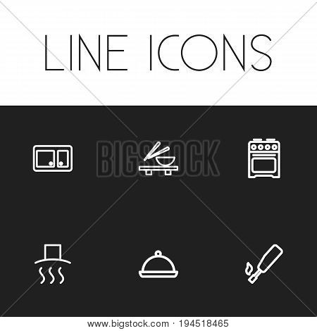 Set Of 6 Editable Meal Icons. Includes Symbols Such As Tray, Noodles Bowl, Kitchenette And More. Can Be Used For Web, Mobile, UI And Infographic Design.