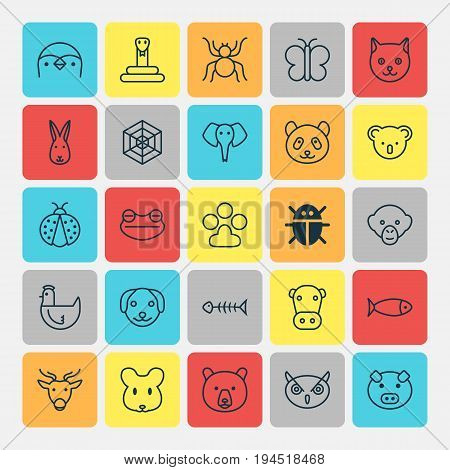 Zoo Icons Set. Collection Of Seafood Skeleton, Grizzly, Diver And Other Elements. Also Includes Symbols Such As Animal, Moose, Fowl.
