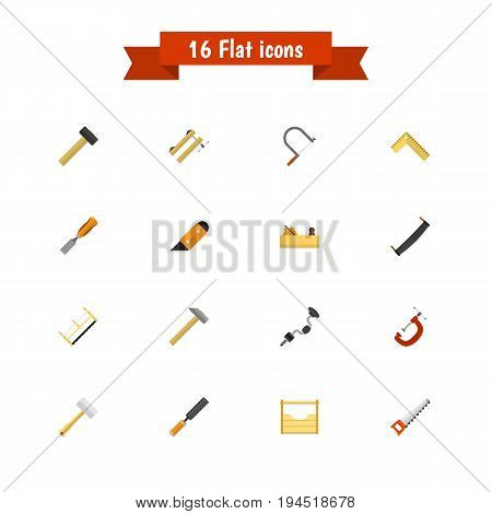 Set Of 16 Editable Apparatus Icons. Includes Symbols Such As Hammer , Handsaw, Meter. Can Be Used For Web, Mobile, UI And Infographic Design.
