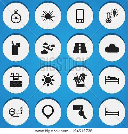 Set Of 16 Editable Trip Icons. Includes Symbols Such As Mattress, Mobile Phone, Aviation And More. Can Be Used For Web, Mobile, UI And Infographic Design.