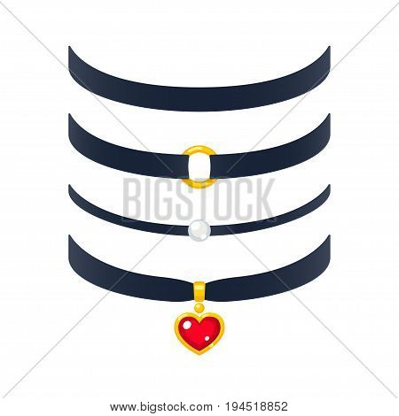 Set of realistic choker necklaces vector illustration. Fashion jewelry with pearl and gold heart pendant.