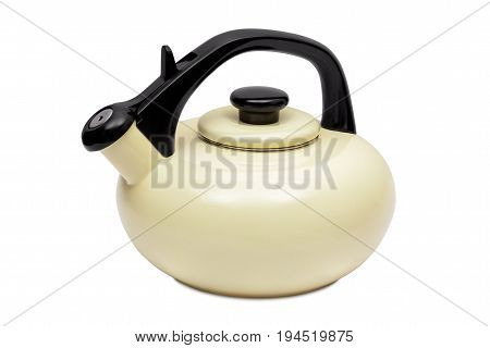 Beige tea kettle with whistle isolated on white background with clipping path