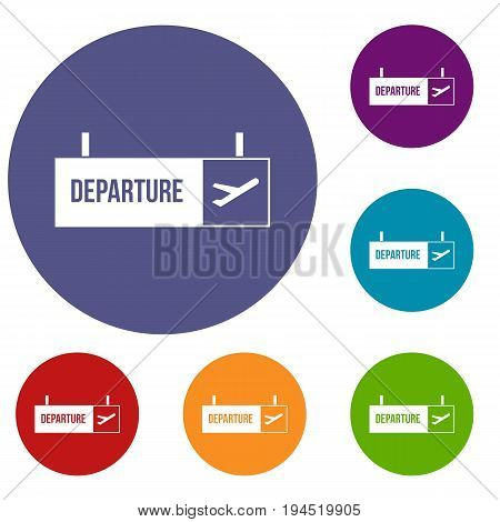 Airport departure sign icons set in flat circle reb, blue and green color for web