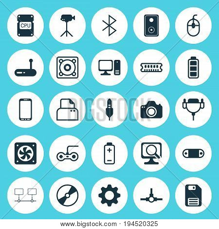 Computer Icons Set. Collection Of Vga Cord, Diskette, Smartphone And Other Elements. Also Includes Symbols Such As Speaker, Cable, Network.
