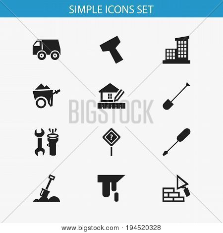 Set Of 12 Editable Building Icons. Includes Symbols Such As Spade, Handcart , Tools. Can Be Used For Web, Mobile, UI And Infographic Design.