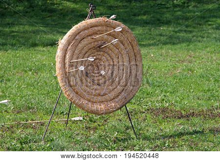 Handmade target for archery on green grass