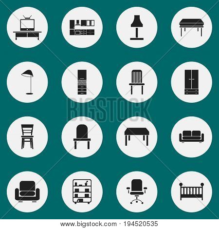 Set Of 16 Editable Interior Icons. Includes Symbols Such As Tv, Recliner, Ergonomic Seat And More. Can Be Used For Web, Mobile, UI And Infographic Design.