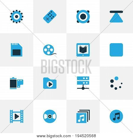 Music Colorful Icons Set. Collection Of Datacenter, Amplifier, Filmstrip And Other Elements. Also Includes Symbols Such As Filmstrip, Card, Sd.