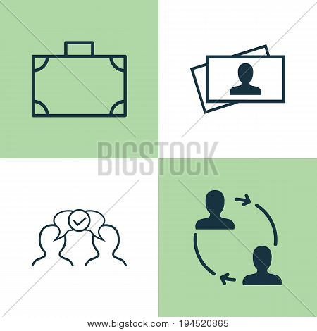 Business Icons Set. Collection Of Cooperation, Portfolio, Cooperation And Other Elements. Also Includes Symbols Such As People, Partnership, Card.