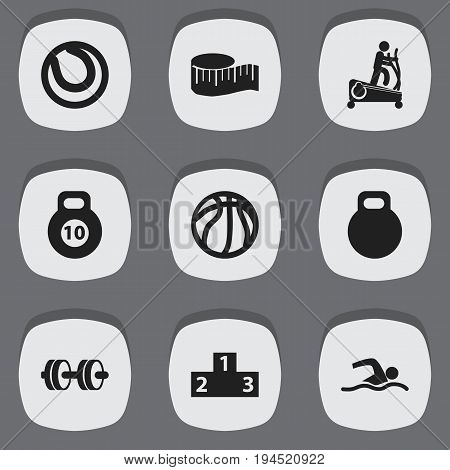 Set Of 9 Editable Training Icons. Includes Symbols Such As Cloth Ruler, Weightiness, Basket Play And More. Can Be Used For Web, Mobile, UI And Infographic Design.