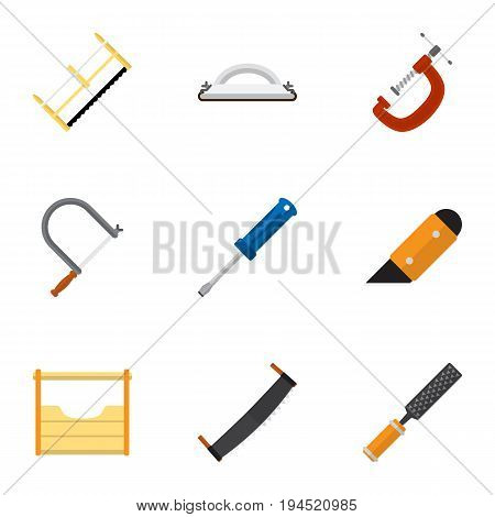 Set Of 9 Editable Equipment Icons. Includes Symbols Such As Clinch, Instruments, Turn-Screw And More. Can Be Used For Web, Mobile, UI And Infographic Design.