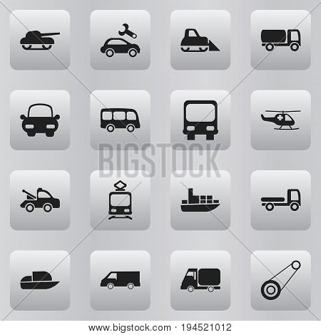 Set Of 16 Editable Shipment Icons. Includes Symbols Such As Repairing, Weapon, Autobus And More. Can Be Used For Web, Mobile, UI And Infographic Design.