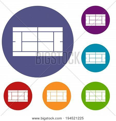 Tennis court icons set in flat circle reb, blue and green color for web