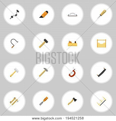 Set Of 16 Editable Tools Icons. Includes Symbols Such As Boer, Emery Paper, Clinch And More. Can Be Used For Web, Mobile, UI And Infographic Design.