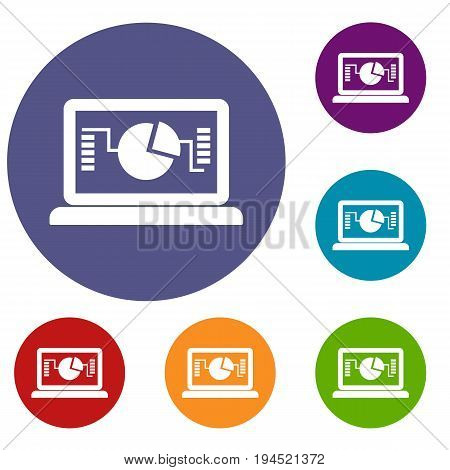 Laptop with business graph icons set in flat circle reb, blue and green color for web