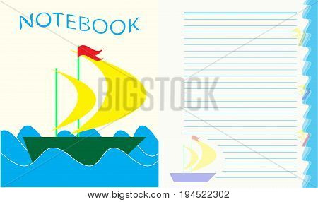 Sheet for children's notebook, boat on the waves, EPS10