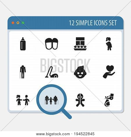 Set Of 12 Editable Family Icons. Includes Symbols Such As Heart, Wizard, Ancestor And More. Can Be Used For Web, Mobile, UI And Infographic Design.
