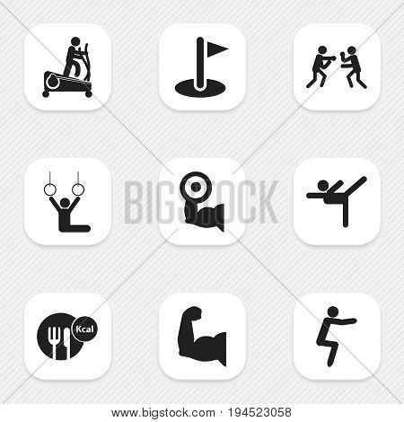 Set Of 9 Editable Fitness Icons. Includes Symbols Such As Workout, Biceps, Flag And More. Can Be Used For Web, Mobile, UI And Infographic Design.