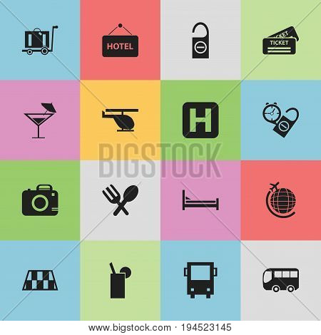 Set Of 16 Editable Holiday Icons. Includes Symbols Such As Cutlery, Welcome Board, Motorbus And More. Can Be Used For Web, Mobile, UI And Infographic Design.