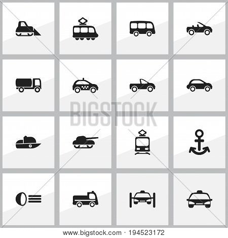 Set Of 16 Editable Transport Icons. Includes Symbols Such As Taxi, Luminary, Car Vehicle And More. Can Be Used For Web, Mobile, UI And Infographic Design.