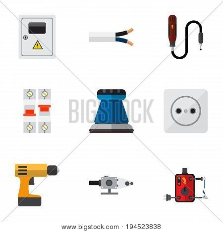 Set Of 9 Editable Electric Icons. Includes Symbols Such As Rosette, Mini Drill, Blowpipe And More. Can Be Used For Web, Mobile, UI And Infographic Design.