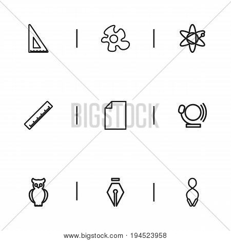 Set Of 9 Editable Science Icons. Includes Symbols Such As Scale, Jumping, Bird And More. Can Be Used For Web, Mobile, UI And Infographic Design.