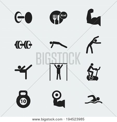 Set Of 12 Editable Lifestyle Icons. Includes Symbols Such As Strength, Training Pool, Exercise And More. Can Be Used For Web, Mobile, UI And Infographic Design.