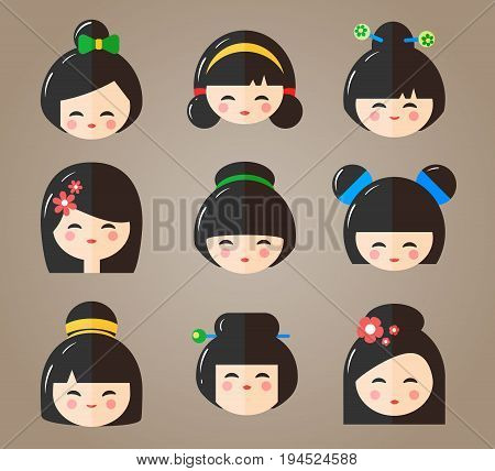 Japanese Kokeshi Dolls Heads Icons. Kawaii asian girls with different haircuts isolated on the white background. Flat vector illustration
