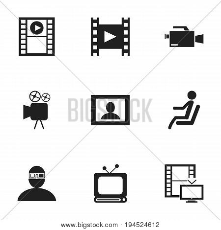 Set Of 9 Editable Filming Icons. Includes Symbols Such As Spectator, Seat, Camera Strip And More. Can Be Used For Web, Mobile, UI And Infographic Design.
