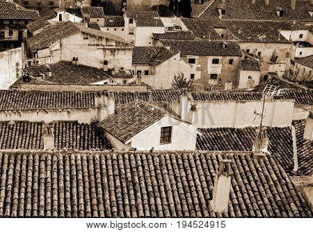 Ancient tile roofs of Chinchon, Madrd, Spain