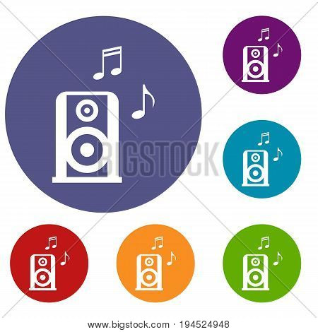 Portable music speacker icons set in flat circle reb, blue and green color for web