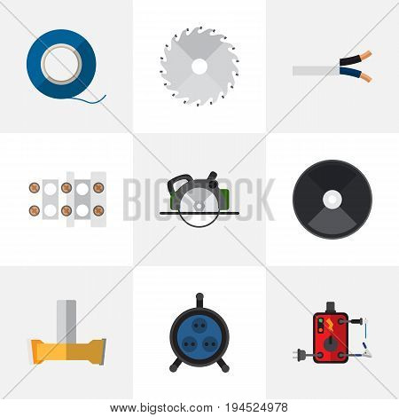 Set Of 9 Editable Instruments Icons. Includes Symbols Such As Adhesive, Cable, Buzzsaw And More. Can Be Used For Web, Mobile, UI And Infographic Design.