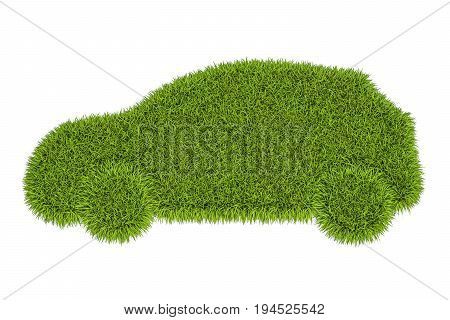 car silhouette from green grass 3D rendering isolated on white background