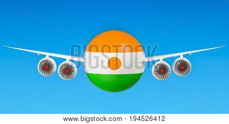 Flights to Niger concept. 3D rendering on sky
