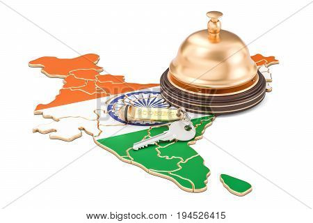 India booking concept. Indian flag with hotel key and reception bell 3D rendering