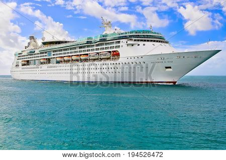 MIAMI, USA - APRIL 12, 2017: Royal Caribbean cruise ship Grandeur of the Seas sailing to port of Miami