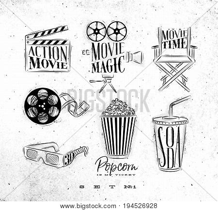 Cinema signs clapperboard movie camera chair cine film 3d glasses popcorn soda drawing on dirty paper background set 1