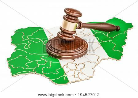Wooden Gavel on map of Nigeria 3D rendering isolated on white background