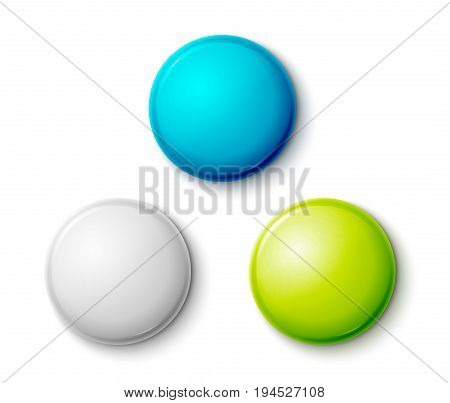 Blank colorful glossy badges. Web buttons. Vector shape design blue, red, green nad orange.