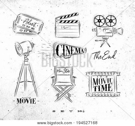 Cinema symbols ticket clapperboard movie camera horn searchlight chair for a movie star cine film drawing on dirty paper background set 2
