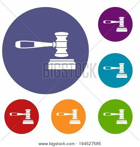 Judge gavel icons set in flat circle reb, blue and green color for web