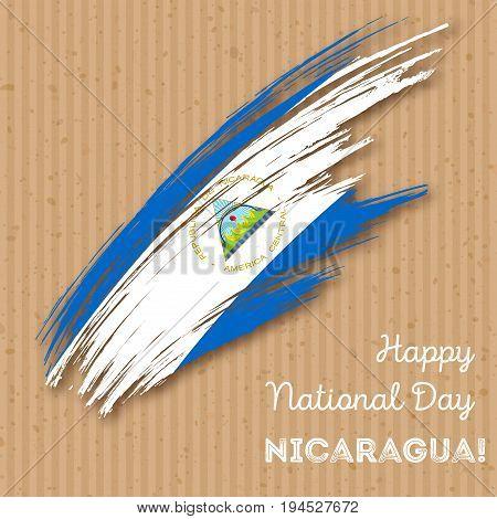 Nicaragua Independence Day Patriotic Design. Expressive Brush Stroke In National Flag Colors On Kraf