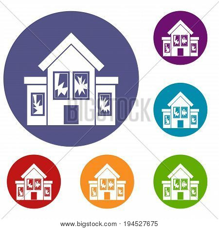 House with broken windows icons set in flat circle reb, blue and green color for web