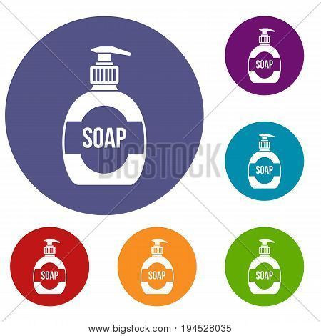 Bottle of liquid soap icons set in flat circle reb, blue and green color for web