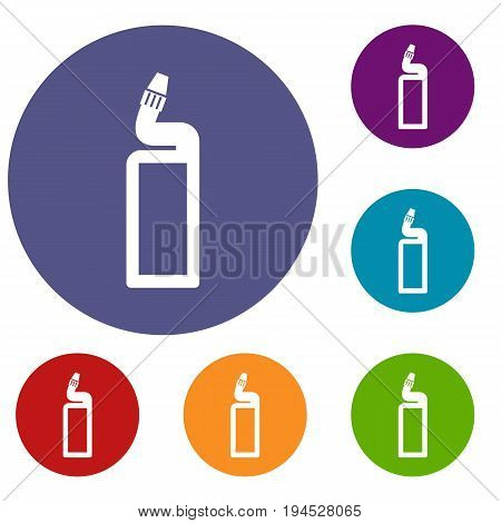 Plastic bottle of drain cleaner icons set in flat circle reb, blue and green color for web